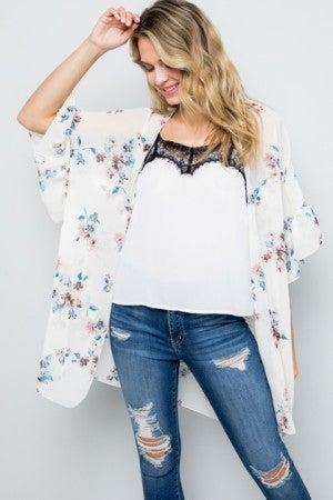 White sheer floral kimono
