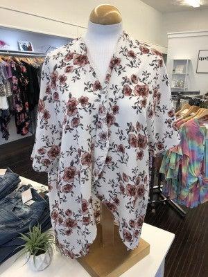 Ivory & blush floral kimono