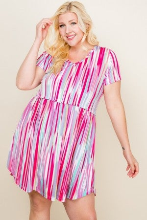 Multi color vertical striped dress