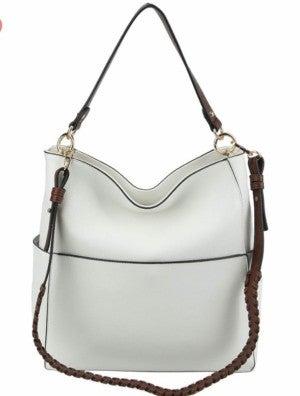 Fashion shoulder bag with whipstitch sash