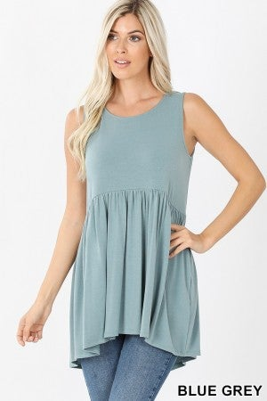 Waist Shirring High-Low Top