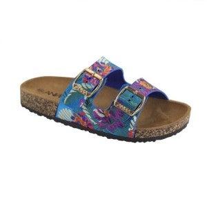 Blue floral sandals