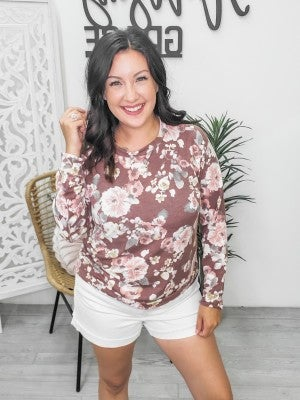 Burgundy floral sweater