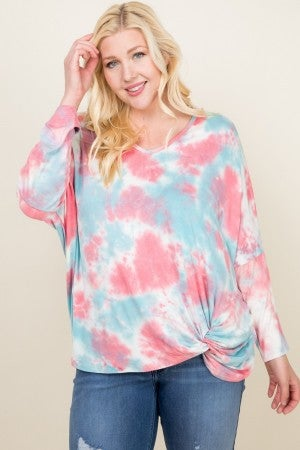 Blue & Coral tye dye dolman with twist detail