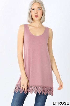 Round Neck Tank with Crochet Bottom Detail
