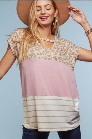 Blush & Animal print color block blouse