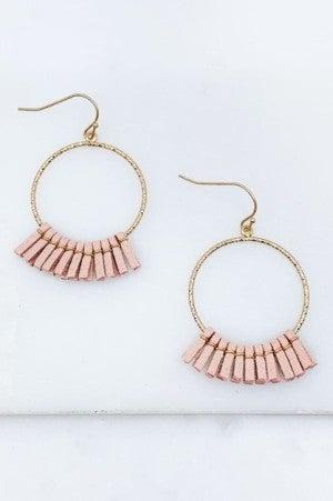Round Suede Pink Tassel Earrings