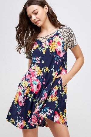 Floral T-shirt dress with animal print