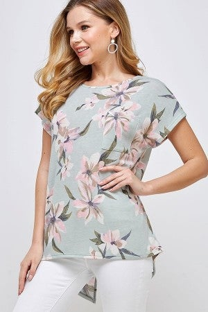 Sage floral top with back detail