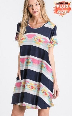 Navy Aztec dress