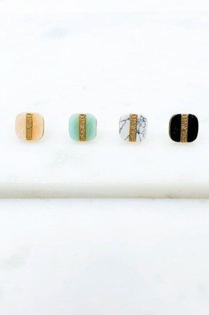 Marble & Gold cushion cut earrings