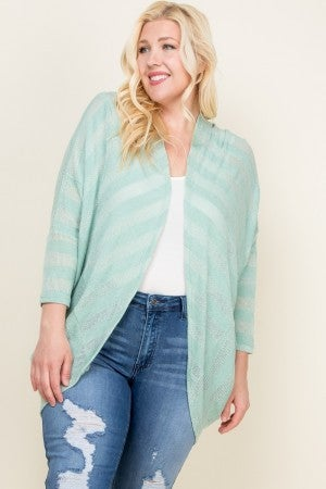 Mint striped cover up