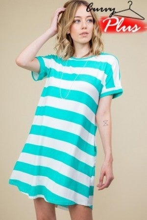 Mint striped t-shirt dress