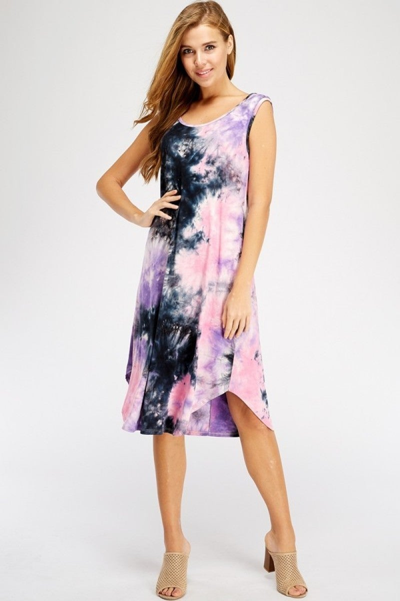 Tye dye dress with criss cross back