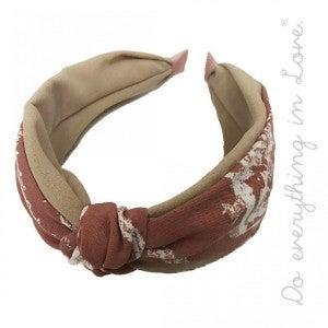 Boho Brushed Stripe Knotted Headband