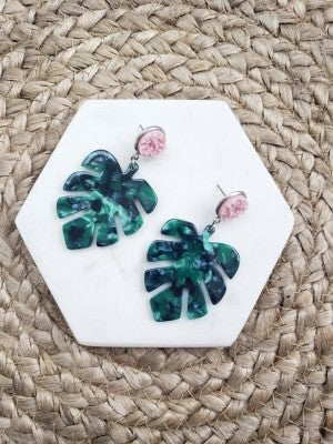 Palm Leave with Druzy Earrings