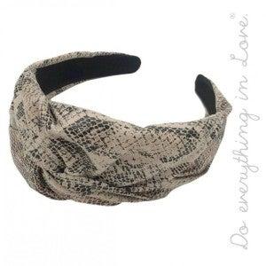 Anaconda Faux Leather Snakeskin Knot Headband