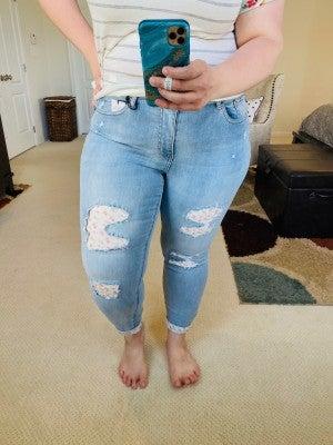 Judy Blue Floral Patch Skinny Denim Jeans