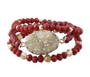Red Druzy Bracelet