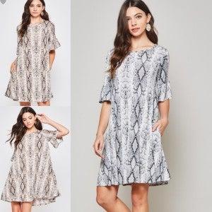 Tisha Snakeskin Dress