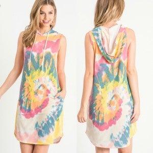 Tie Dye Hooded Dress