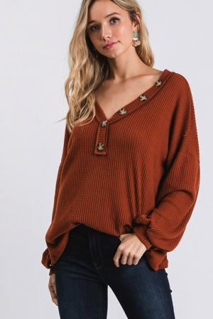 Button Detail Waffle Top