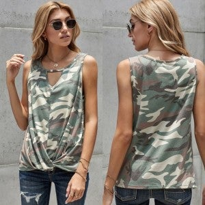 Front Knot Camo Tank