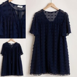 Pom Hemline Navy Dress