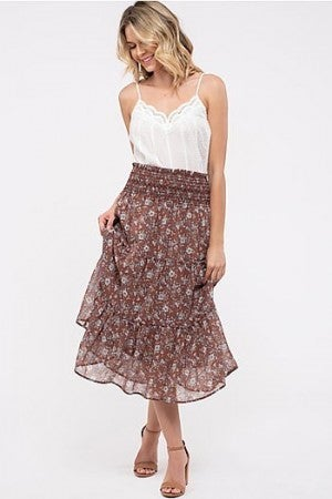 Floral Tierd Midi Skirt