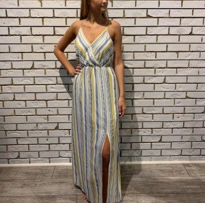 Blue and Yellow Striped Maxi Dress
