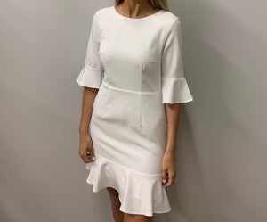 White Half-sleeve Dress