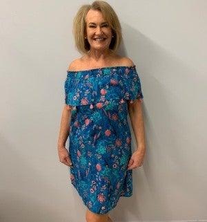 Blue off-the-shoulder Dress
