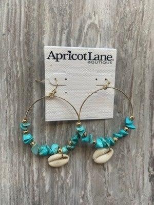 Turquoise Shell Hoop Ear