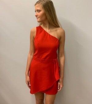 Red One-Shoulder Dress