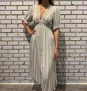 Tan Striped Midi Dress