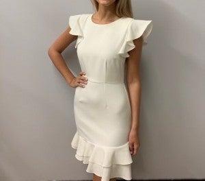 V-Back Ruffle Sleeve Dress