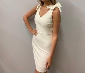 White Bow Sleeve Dress