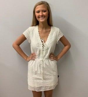 White Lace Trim Dress