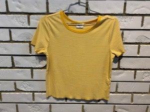 Yellow cropped pin Tee