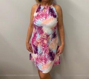 Pink Palm Leaf Dress