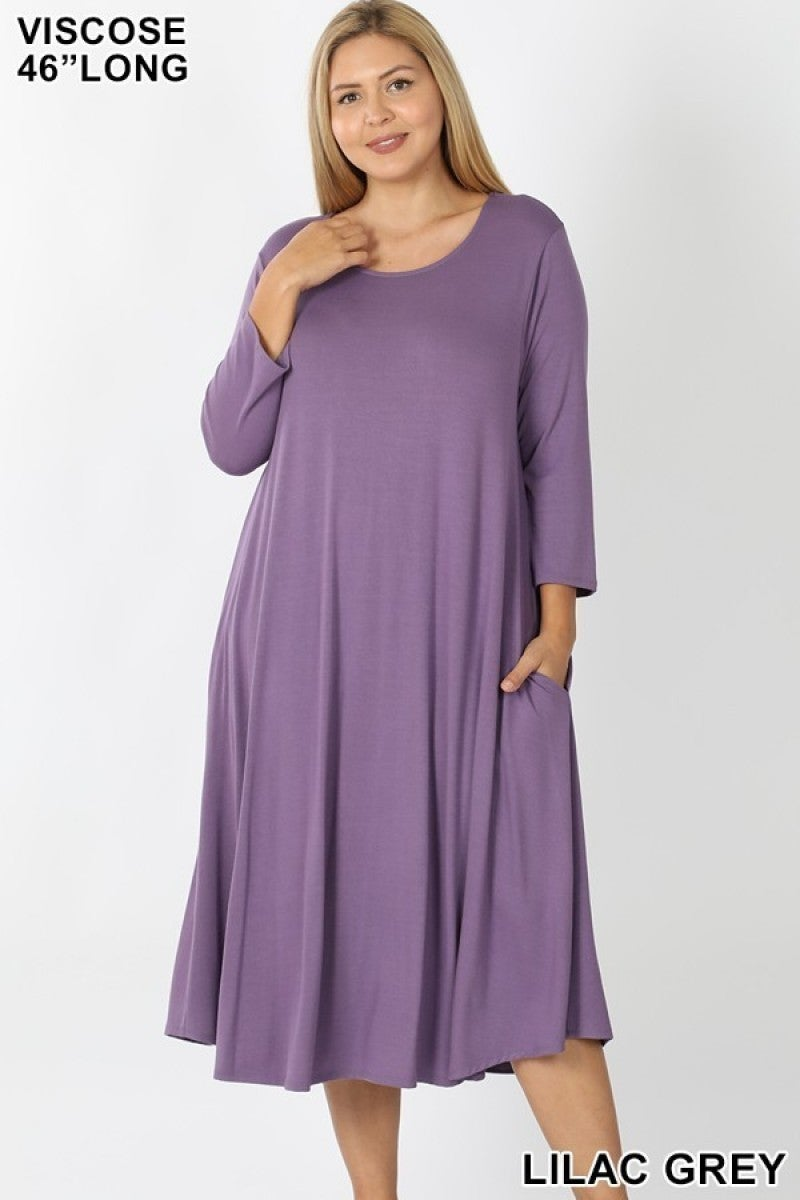 Plus Dress ~ Diana ~ Available in Multiple Colors