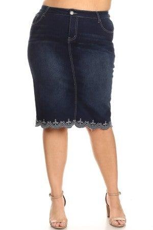 Plus Denim Skirt ~ Lacy