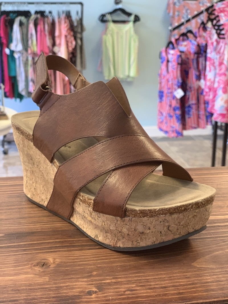 Whiskey Cork Strappy Wedge
