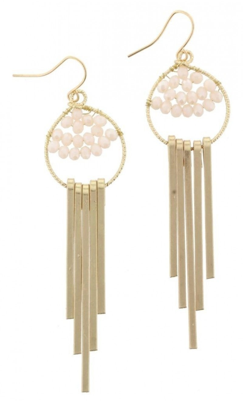 Nude Bead Weave Gold Fringe Dangle