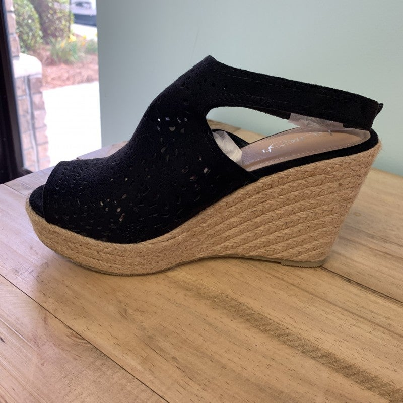 Espadrille Black Wedge