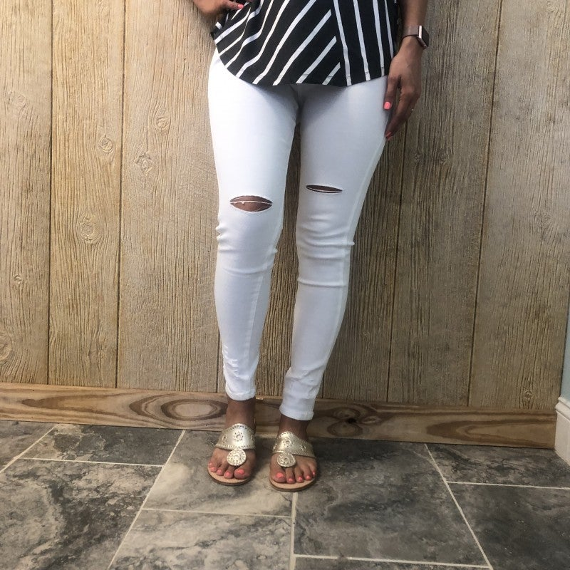 White Stretchy Distressed Jeggings