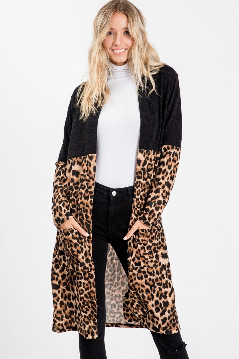 Black/Leopard Multi Cardigan