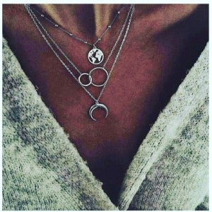 Necklace 3 Layer Half Moon
