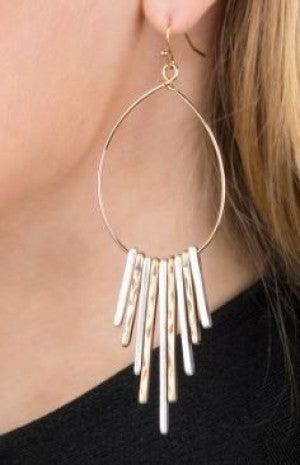 Metal Fringe Love Earrings
