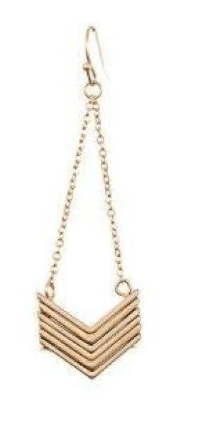 Golden Chevron Link Earrings